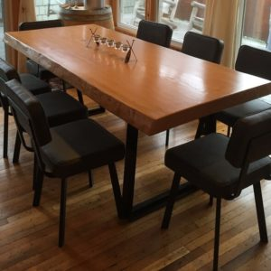 photo of stained fir live edge table