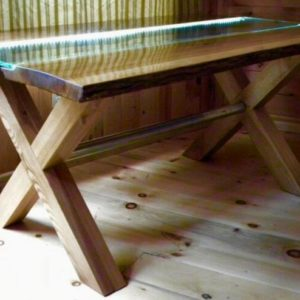photo of live edge Ash table with glass inlay