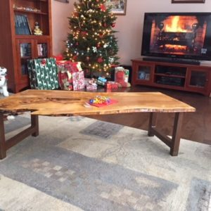 photo of live edge Olivewood coffee table