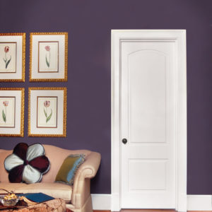 photo of 2 panel door with arch top