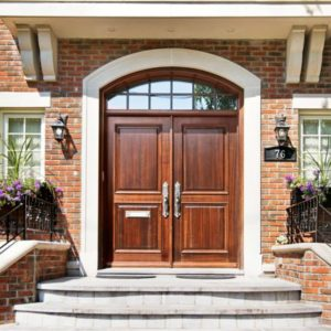 photo of a wood entrance door