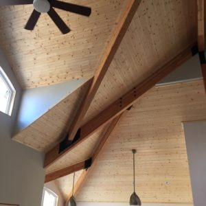 photo of pine ceiling