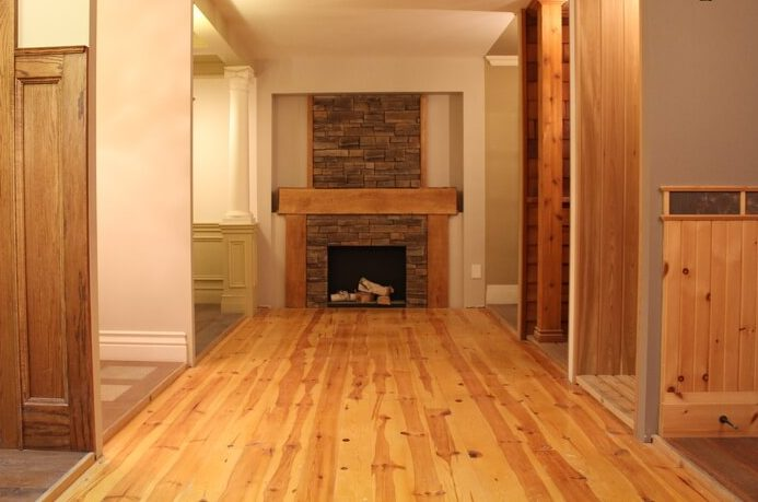 Pine Hallway with Fireplace