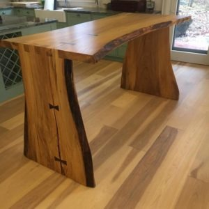 photo of Rubio Monocoat on Hickory Flooring & live edge table