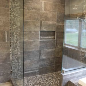 photo of tile shower