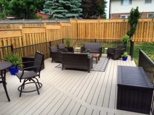 Endeck PVC Decking - Olivewood & Century Railing - Lakeside Copper