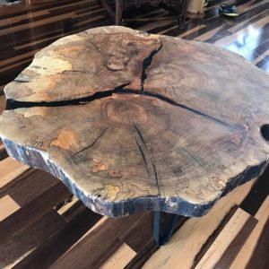 photo of spalted live edge Maple coffee table. Finished with Rubio Monocoat 2C Pure