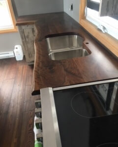 photo of live edge Walnut counter top