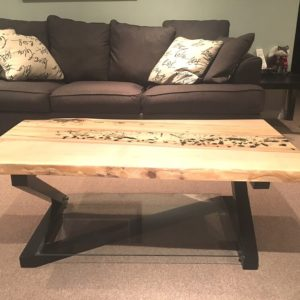 photo of live edge Maple coffee table