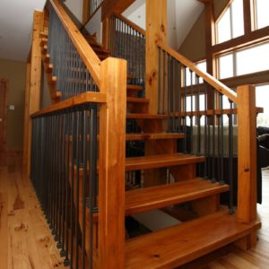 photo of Bezdan spindles, Knotty Pine handrail and treads