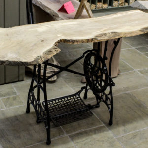 Kiln Dried & Sanded Olivewood Table top and refurbished sewing machine base (sold separately)