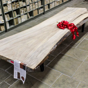 Kiln Dried & Sanded Red Elm Live Edge Slab with arch style metal legs (sold separately)