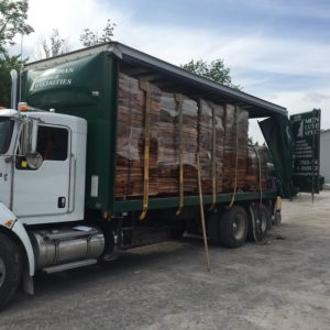 photo of Western Red Cedar shingles on a delivery truck