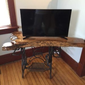 photo of live edge Red Oak TV table